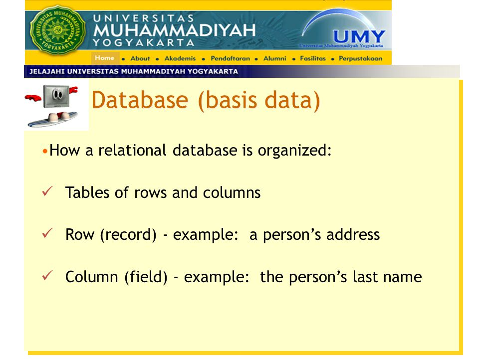 Database (basis data) How a relational database is organized: Tables of rows and columns Row (record) - example: a person's address Column (field) - e
