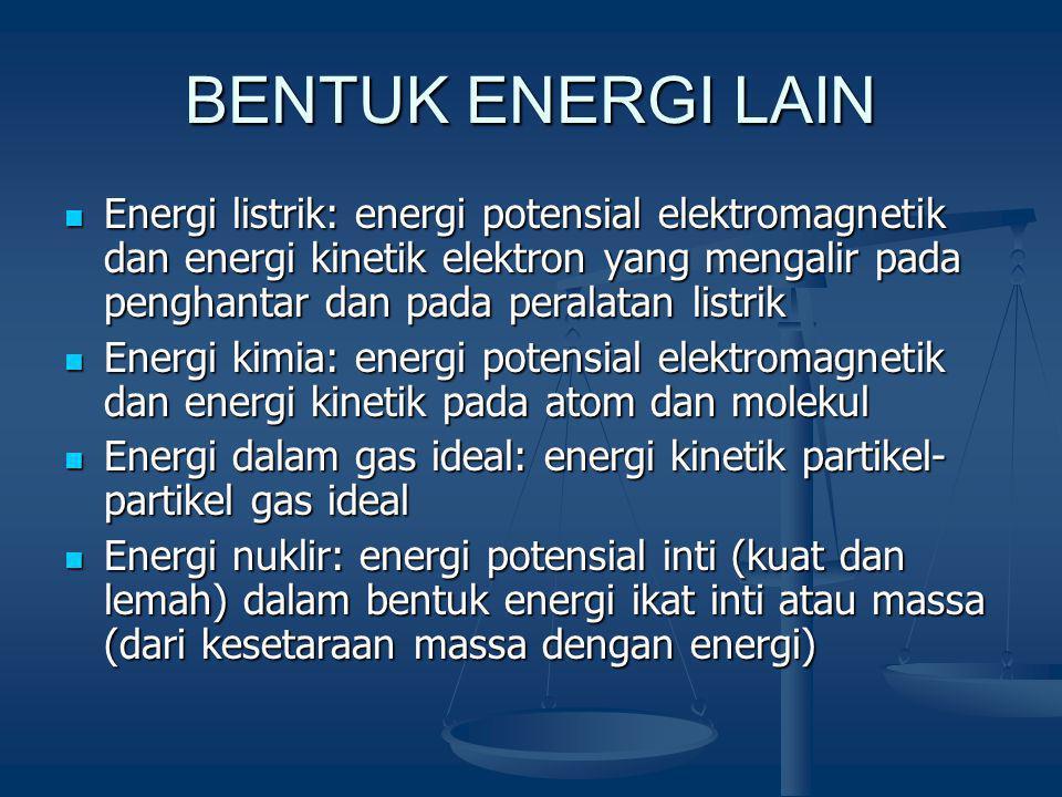 BENTUK ENERGI LAIN Energi listrik: energi potensial elektromagnetik dan energi kinetik elektron yang mengalir pada penghantar dan pada peralatan listrik Energi listrik: energi potensial elektromagnetik dan energi kinetik elektron yang mengalir pada penghantar dan pada peralatan listrik Energi kimia: energi potensial elektromagnetik dan energi kinetik pada atom dan molekul Energi kimia: energi potensial elektromagnetik dan energi kinetik pada atom dan molekul Energi dalam gas ideal: energi kinetik partikel- partikel gas ideal Energi dalam gas ideal: energi kinetik partikel- partikel gas ideal Energi nuklir: energi potensial inti (kuat dan lemah) dalam bentuk energi ikat inti atau massa (dari kesetaraan massa dengan energi) Energi nuklir: energi potensial inti (kuat dan lemah) dalam bentuk energi ikat inti atau massa (dari kesetaraan massa dengan energi)