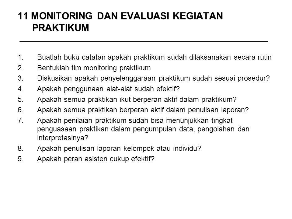 11 MONITORING DAN EVALUASI KEGIATAN PRAKTIKUM 1.Buatlah buku catatan apakah praktikum sudah dilaksanakan secara rutin 2.Bentuklah tim monitoring prakt