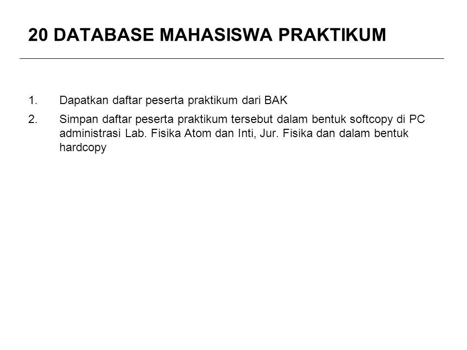 20 DATABASE MAHASISWA PRAKTIKUM 1.Dapatkan daftar peserta praktikum dari BAK 2.Simpan daftar peserta praktikum tersebut dalam bentuk softcopy di PC ad