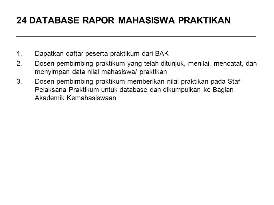 24 DATABASE RAPOR MAHASISWA PRAKTIKAN 1.Dapatkan daftar peserta praktikum dari BAK 2.Dosen pembimbing praktikum yang telah ditunjuk, menilai, mencatat