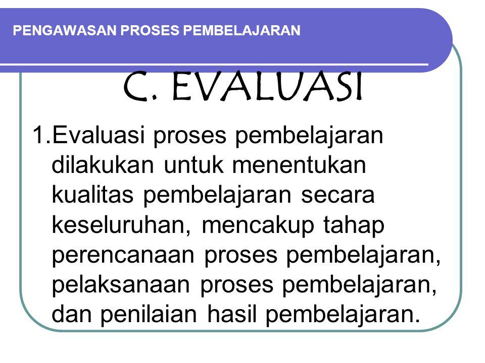 PENGAWASAN PROSES PEMBELAJARAN C. EVALUASI 1.Evaluasi proses pembelajaran dilakukan untuk menentukan kualitas pembelajaran secara keseluruhan, mencaku