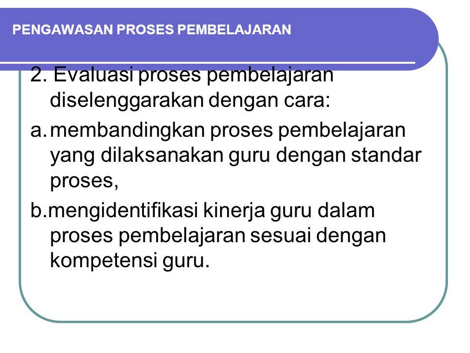 PENGAWASAN PROSES PEMBELAJARAN 2. Evaluasi proses pembelajaran diselenggarakan dengan cara: a.membandingkan proses pembelajaran yang dilaksanakan guru