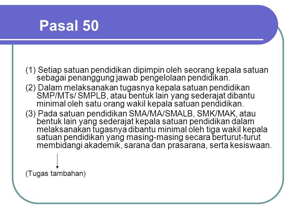 Pasal 50 (1) Setiap satuan pendidikan dipimpin oleh seorang kepala satuan sebagai penanggung jawab pengelolaan pendidikan. (2) Dalam melaksanakan tuga