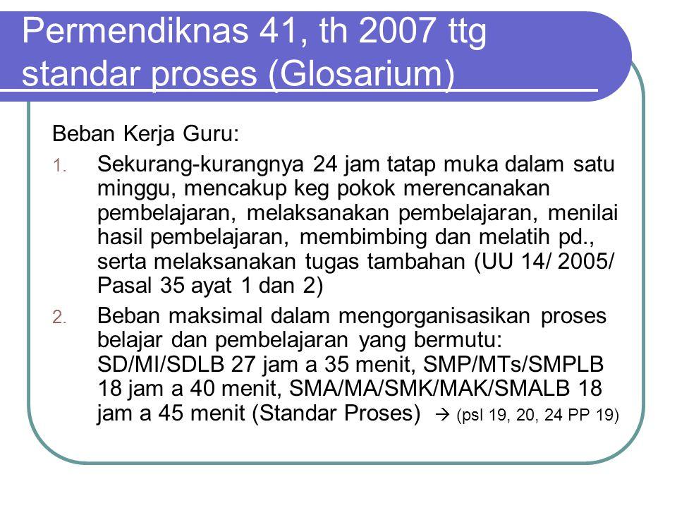 Permendiknas 41, th 2007 ttg standar proses (Glosarium) Beban Kerja Guru: 1. Sekurang-kurangnya 24 jam tatap muka dalam satu minggu, mencakup keg poko