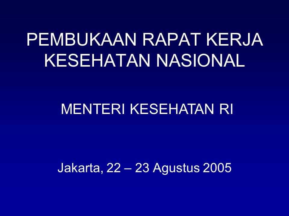 PEMBUKAAN RAPAT KERJA KESEHATAN NASIONAL Jakarta, 22 – 23 Agustus 2005 MENTERI KESEHATAN RI