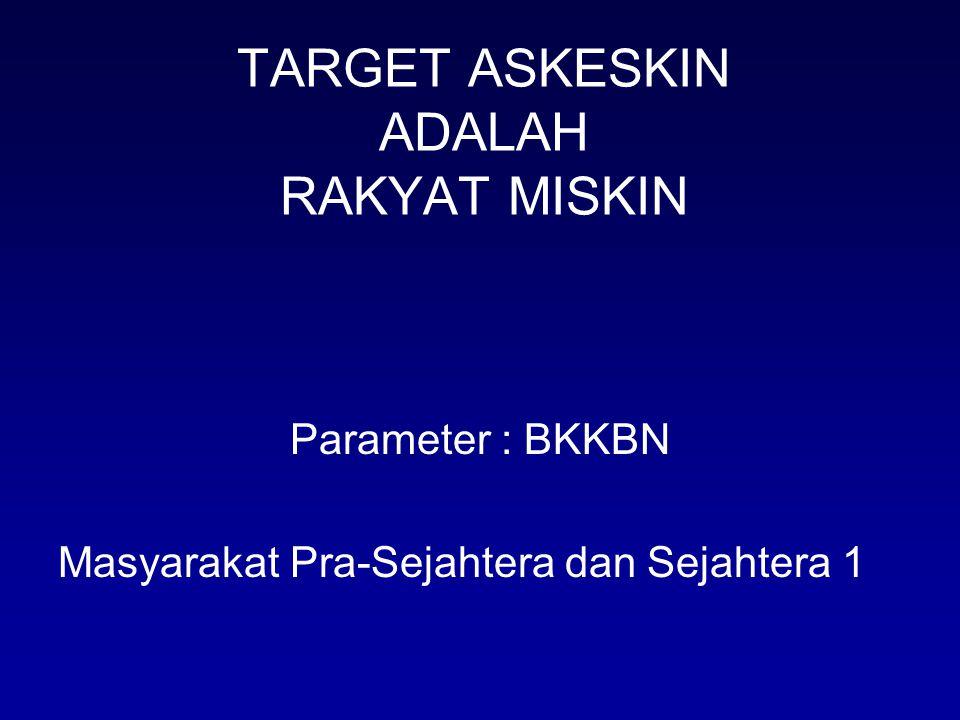 TARGET ASKESKIN ADALAH RAKYAT MISKIN Parameter : BKKBN Masyarakat Pra-Sejahtera dan Sejahtera 1