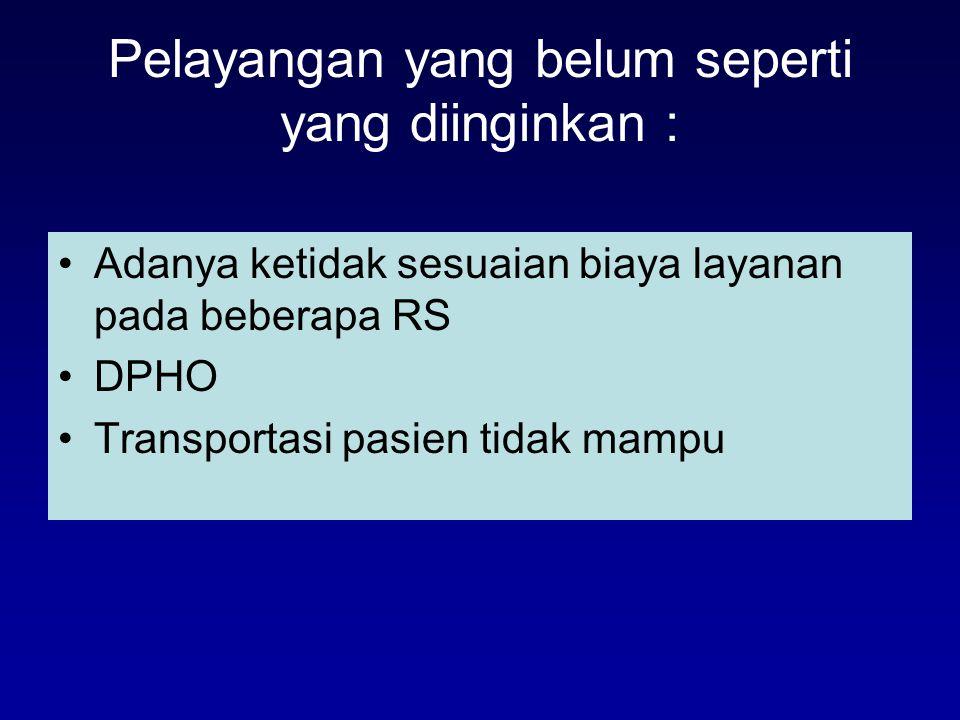 Pelayangan yang belum seperti yang diinginkan : Adanya ketidak sesuaian biaya layanan pada beberapa RS DPHO Transportasi pasien tidak mampu