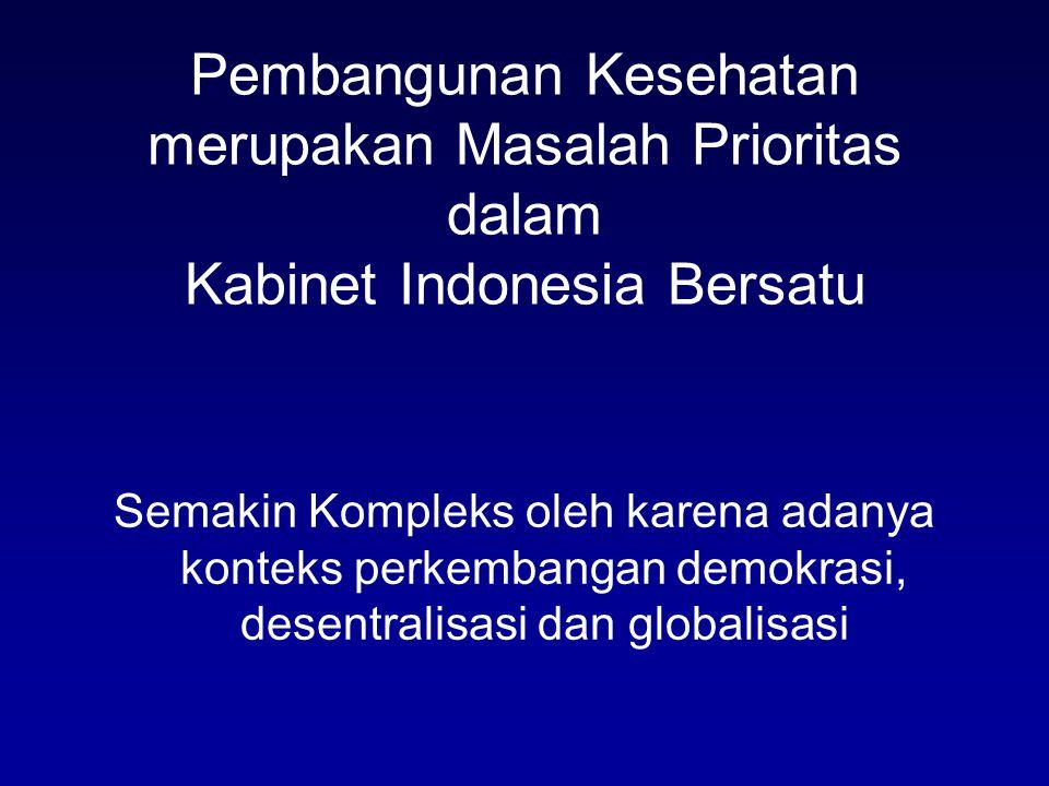 Pembangunan Kesehatan merupakan Masalah Prioritas dalam Kabinet Indonesia Bersatu Semakin Kompleks oleh karena adanya konteks perkembangan demokrasi, desentralisasi dan globalisasi