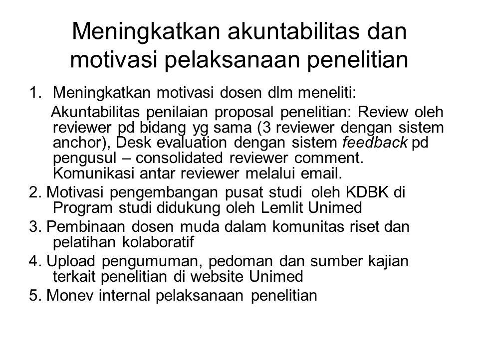Meningkatkan akuntabilitas dan motivasi pelaksanaan penelitian 1.Meningkatkan motivasi dosen dlm meneliti: Akuntabilitas penilaian proposal penelitian