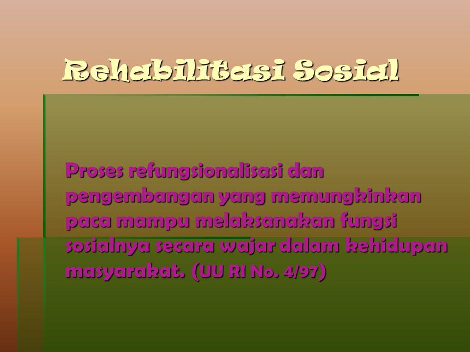 Rehabilitasi Sosial Proses refungsionalisasi dan pengembangan yang memungkinkan paca mampu melaksanakan fungsi sosialnya secara wajar dalam kehidupan
