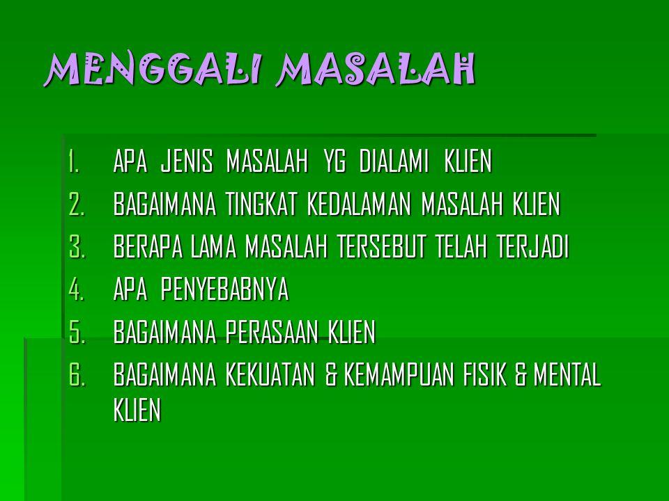 MENGGALI MASALAH 1.APA JENIS MASALAH YG DIALAMI KLIEN 2.BAGAIMANA TINGKAT KEDALAMAN MASALAH KLIEN 3.BERAPA LAMA MASALAH TERSEBUT TELAH TERJADI 4.APA P