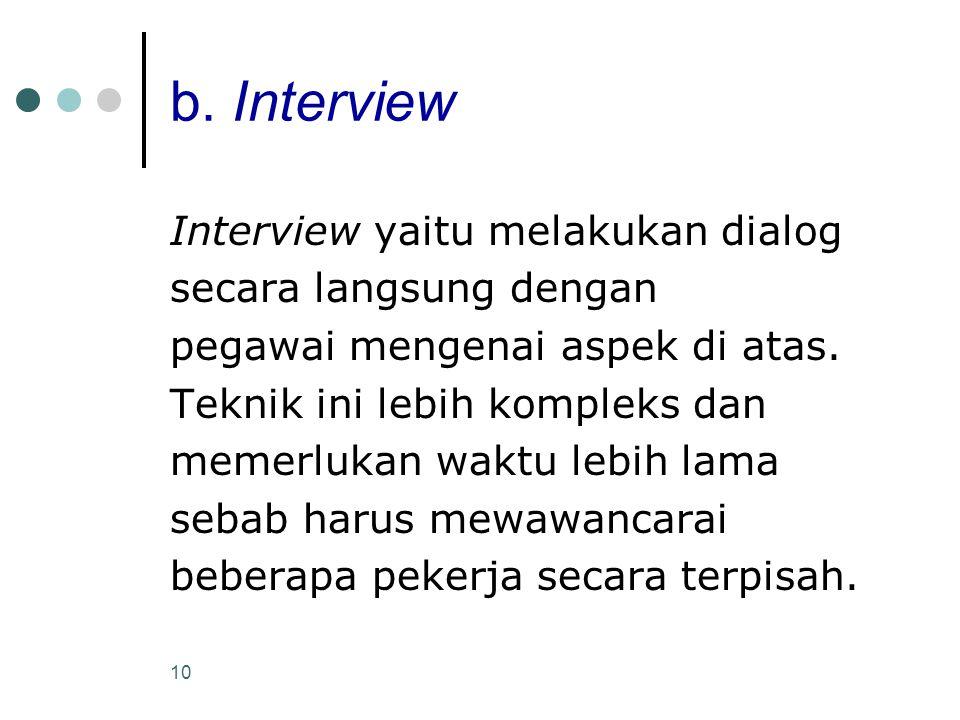 10 b. Interview Interview yaitu melakukan dialog secara langsung dengan pegawai mengenai aspek di atas. Teknik ini lebih kompleks dan memerlukan waktu