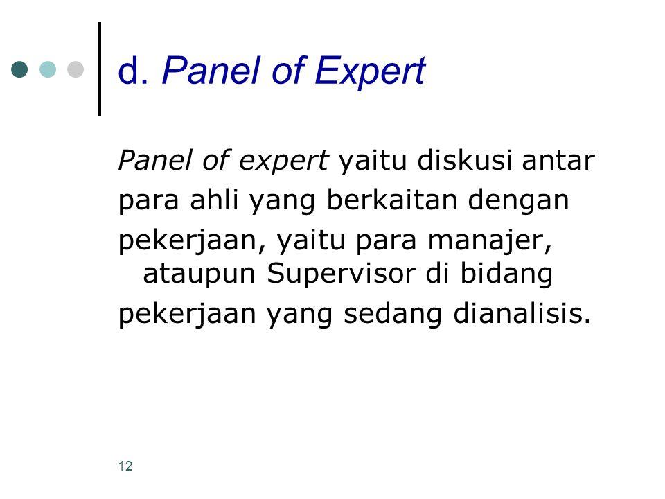 12 d. Panel of Expert Panel of expert yaitu diskusi antar para ahli yang berkaitan dengan pekerjaan, yaitu para manajer, ataupun Supervisor di bidang