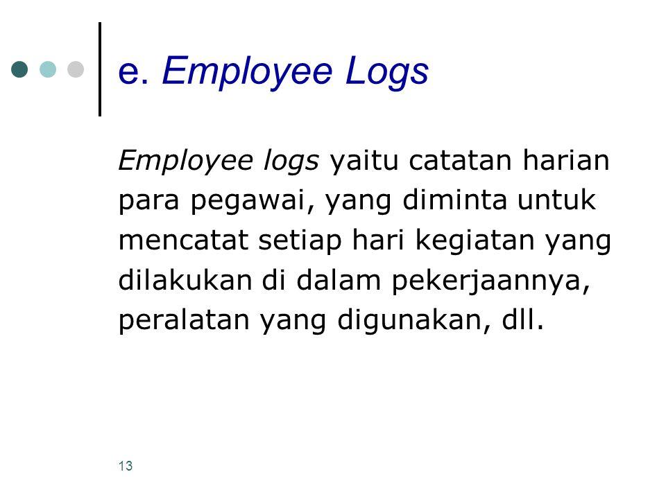 13 e. Employee Logs Employee logs yaitu catatan harian para pegawai, yang diminta untuk mencatat setiap hari kegiatan yang dilakukan di dalam pekerjaa