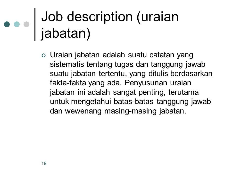 Job description (uraian jabatan) Uraian jabatan adalah suatu catatan yang sistematis tentang tugas dan tanggung jawab suatu jabatan tertentu, yang dit