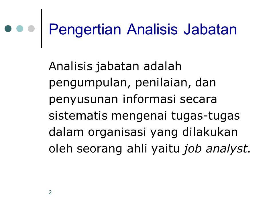 3 Alasan Pelaksanaan Analisis Jabatan Analisis jabatan dilakukan karena suatu informasi dapat menjadi landasan untuk mencocokkan pekerjaan dengan karyawan, beban kerja yang dilakukan, hambatan-hambatan yang ditemui oleh pelaksana, dan landasan dalam pelaksanaan keseluruhan kegiatan MSDM untuk memenuhi fungsinya.