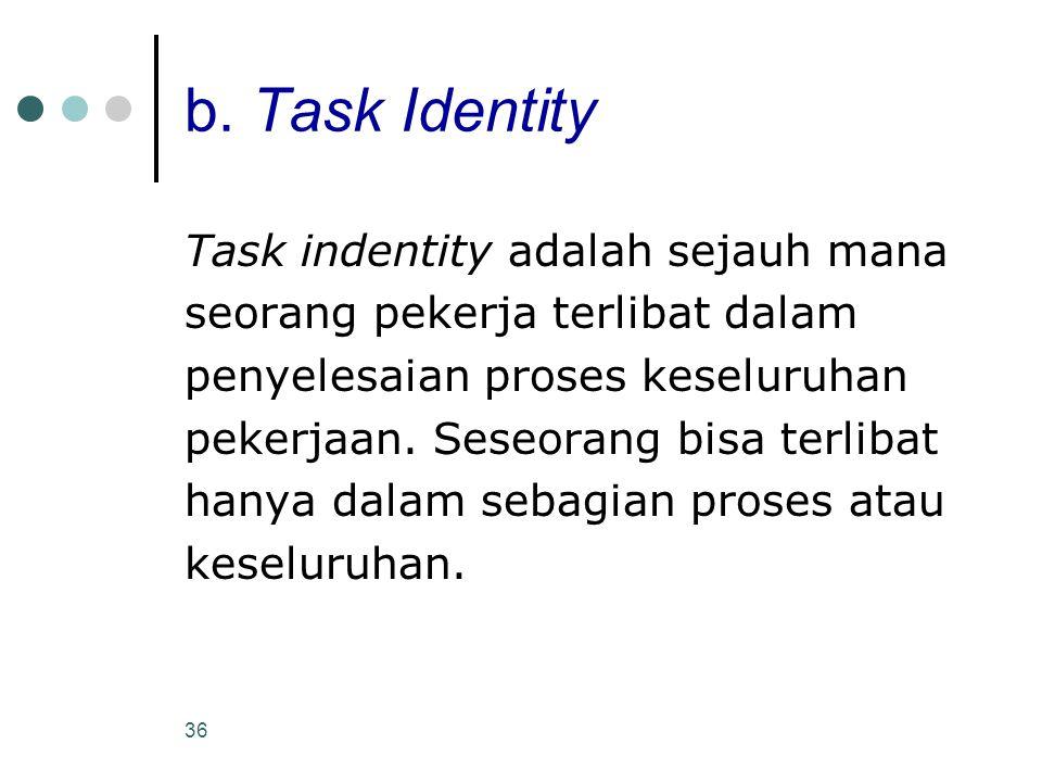 36 b. Task Identity Task indentity adalah sejauh mana seorang pekerja terlibat dalam penyelesaian proses keseluruhan pekerjaan. Seseorang bisa terliba