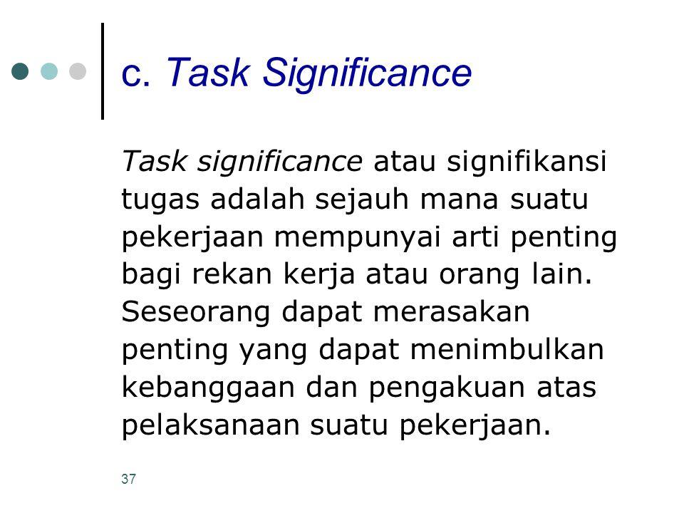 37 c. Task Significance Task significance atau signifikansi tugas adalah sejauh mana suatu pekerjaan mempunyai arti penting bagi rekan kerja atau oran