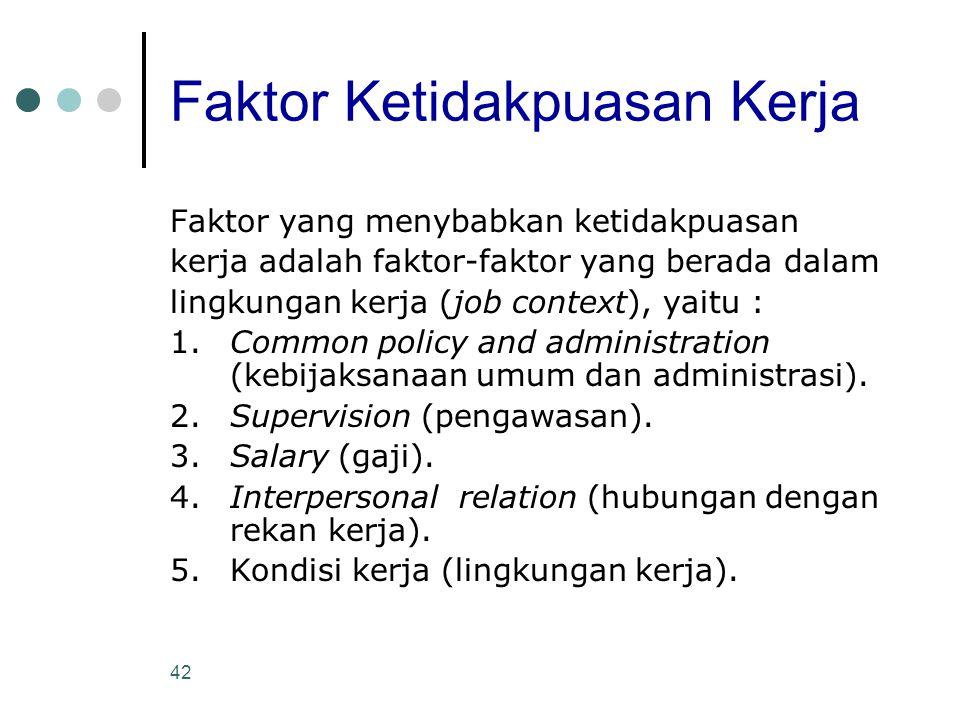 42 Faktor Ketidakpuasan Kerja Faktor yang menybabkan ketidakpuasan kerja adalah faktor-faktor yang berada dalam lingkungan kerja (job context), yaitu