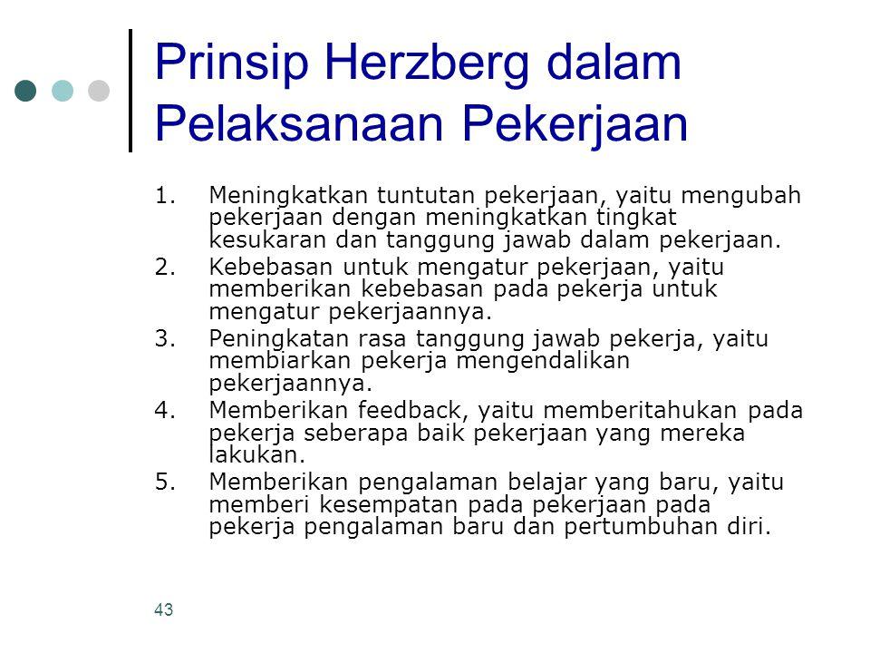 43 Prinsip Herzberg dalam Pelaksanaan Pekerjaan 1.Meningkatkan tuntutan pekerjaan, yaitu mengubah pekerjaan dengan meningkatkan tingkat kesukaran dan