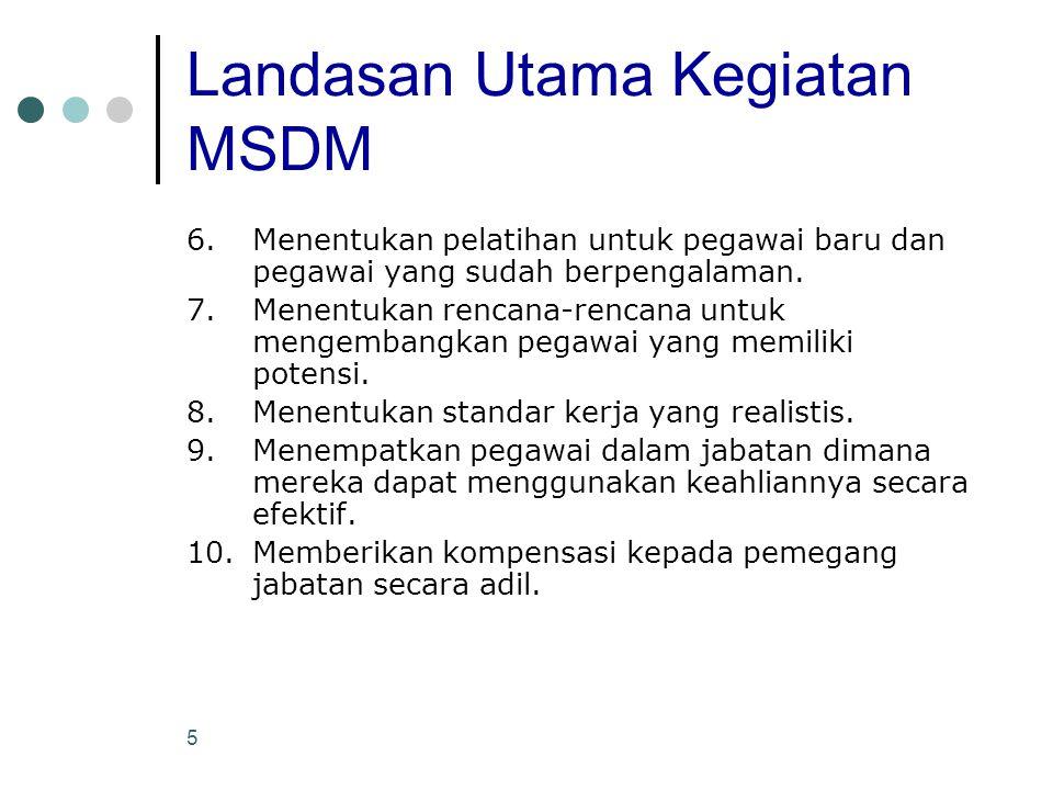 5 Landasan Utama Kegiatan MSDM 6. Menentukan pelatihan untuk pegawai baru dan pegawai yang sudah berpengalaman. 7.Menentukan rencana-rencana untuk men