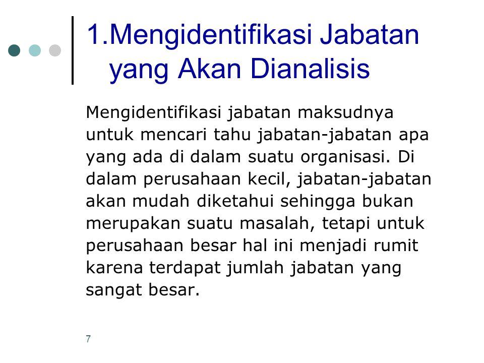 7 1.Mengidentifikasi Jabatan yang Akan Dianalisis Mengidentifikasi jabatan maksudnya untuk mencari tahu jabatan-jabatan apa yang ada di dalam suatu or