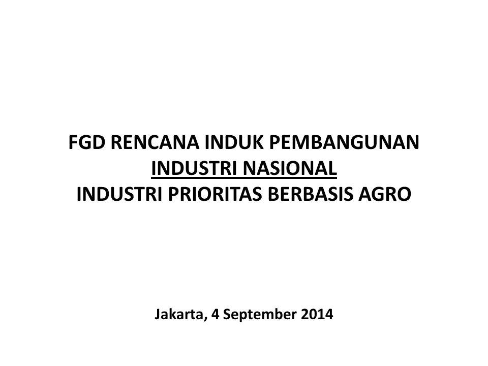 FGD RENCANA INDUK PEMBANGUNAN INDUSTRI NASIONAL INDUSTRI PRIORITAS BERBASIS AGRO Jakarta, 4 September 2014