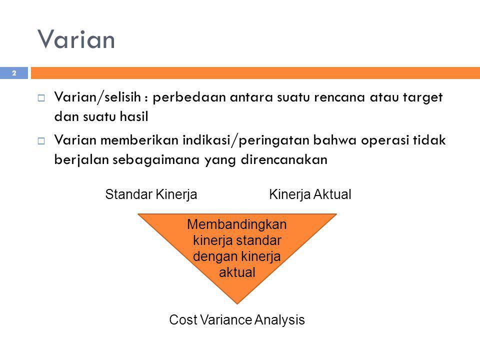 Varian  Varian/selisih : perbedaan antara suatu rencana atau target dan suatu hasil  Varian memberikan indikasi/peringatan bahwa operasi tidak berja