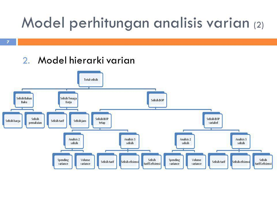 Model perhitungan analisis varian (2) 2. Model hierarki varian 7
