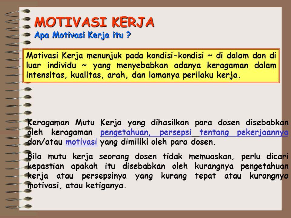 MOTIVASI KERJA Apa Motivasi Kerja itu ? Motivasi Kerja menunjuk pada kondisi-kondisi ~ di dalam dan di luar individu ~ yang menyebabkan adanya keragam