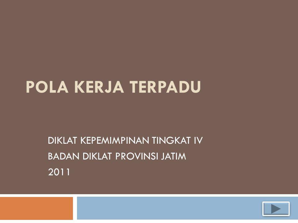 POLA KERJA TERPADU DIKLAT KEPEMIMPINAN TINGKAT IV BADAN DIKLAT PROVINSI JATIM 2011