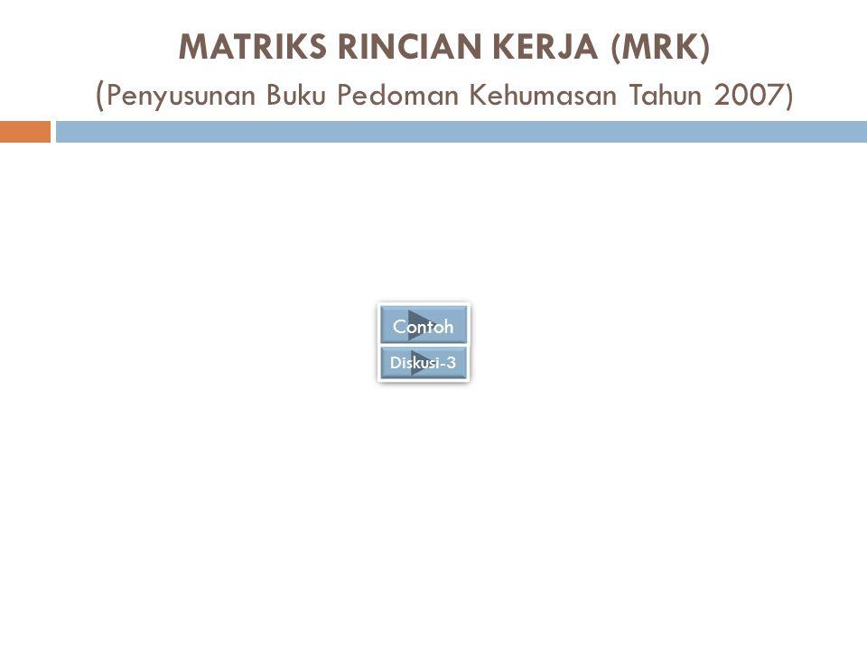 MATRIKS RINCIAN KERJA (MRK) ( Penyusunan Buku Pedoman Kehumasan Tahun 2007) Contoh Diskusi-3