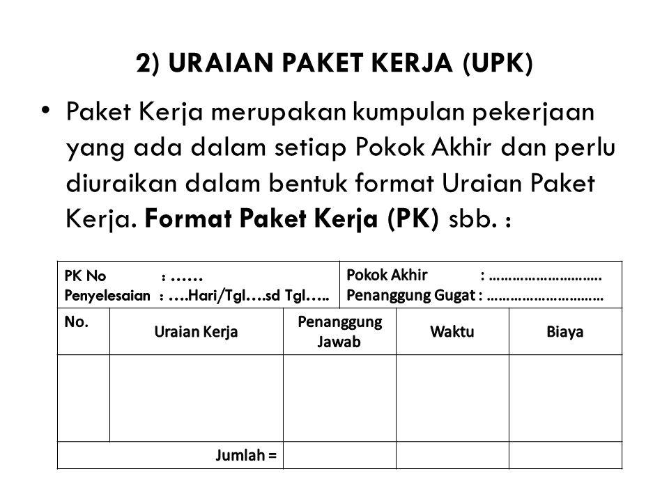 2) URAIAN PAKET KERJA (UPK) Paket Kerja merupakan kumpulan pekerjaan yang ada dalam setiap Pokok Akhir dan perlu diuraikan dalam bentuk format Uraian