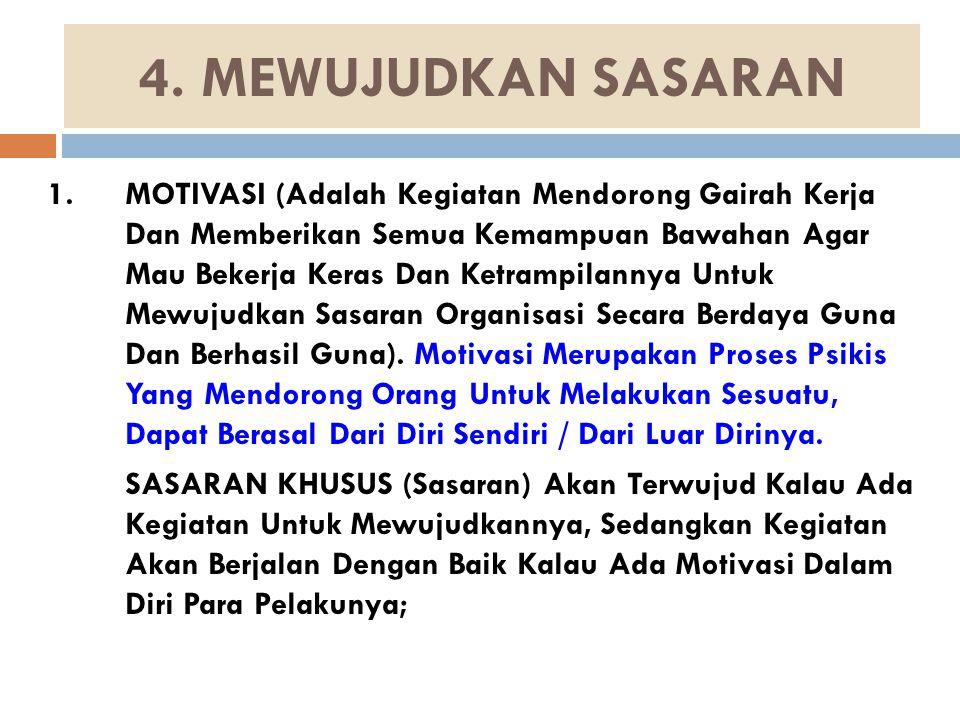 4. MEWUJUDKAN SASARAN 1.MOTIVASI (Adalah Kegiatan Mendorong Gairah Kerja Dan Memberikan Semua Kemampuan Bawahan Agar Mau Bekerja Keras Dan Ketrampilan