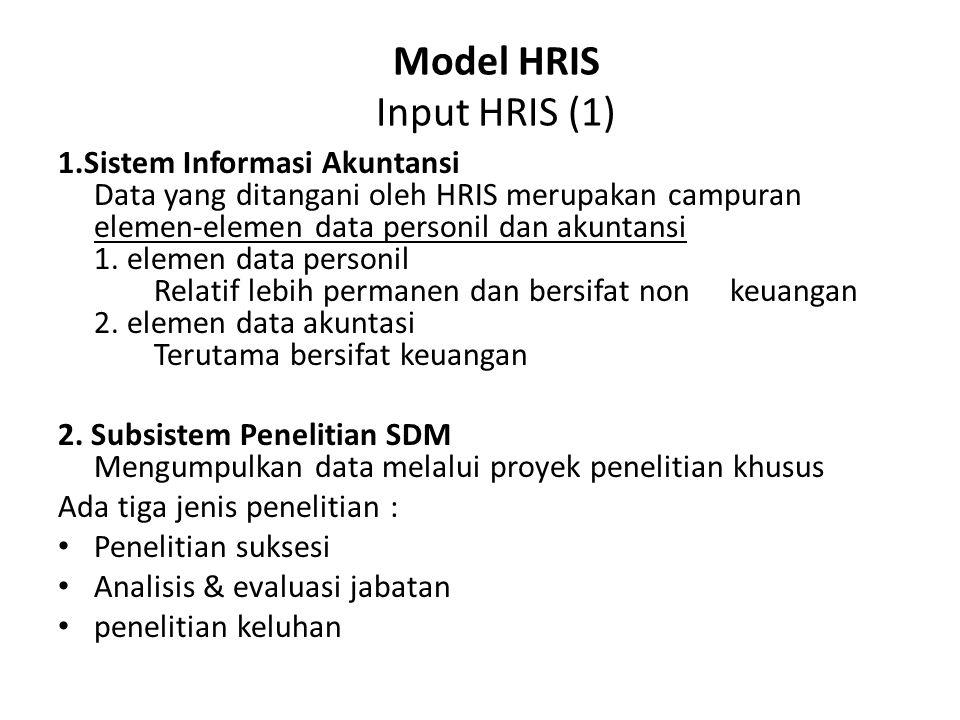 Model HRIS Input HRIS (1) 1.Sistem Informasi Akuntansi Data yang ditangani oleh HRIS merupakan campuran elemen-elemen data personil dan akuntansi 1. e