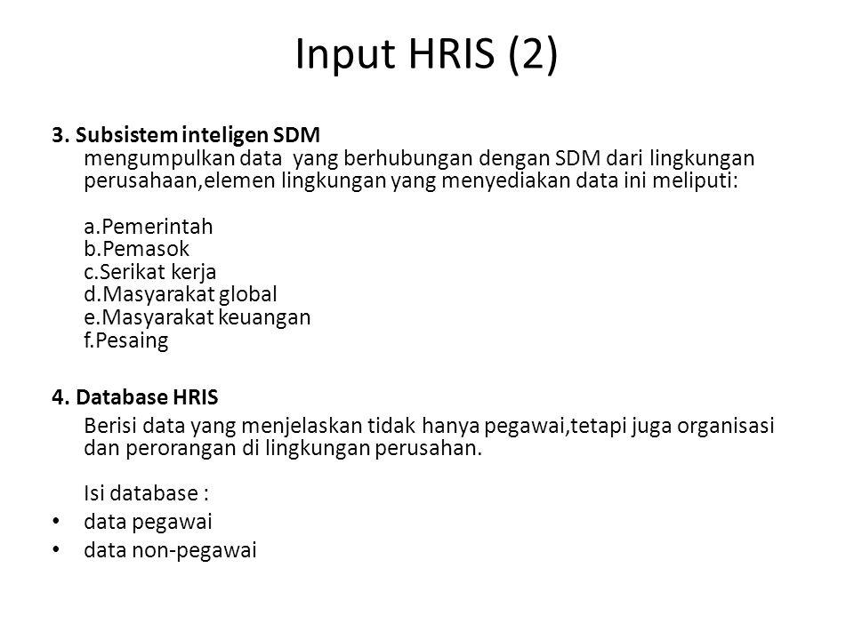 Input HRIS (2) 3. Subsistem inteligen SDM mengumpulkan data yang berhubungan dengan SDM dari lingkungan perusahaan,elemen lingkungan yang menyediakan