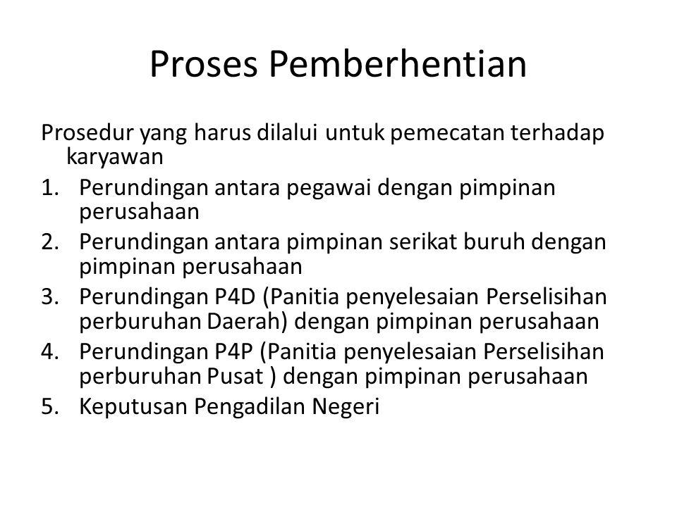 Proses Pemberhentian Prosedur yang harus dilalui untuk pemecatan terhadap karyawan 1.Perundingan antara pegawai dengan pimpinan perusahaan 2.Perunding