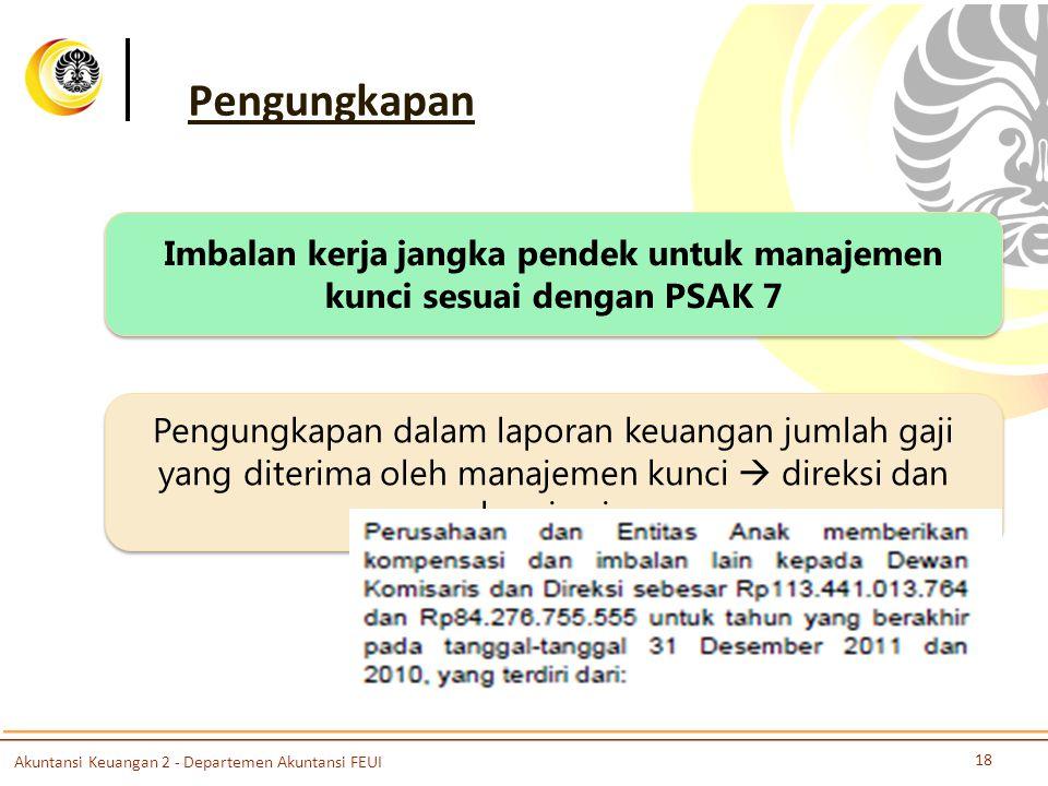 Pengungkapan Pengungkapan dalam laporan keuangan jumlah gaji yang diterima oleh manajemen kunci  direksi dan komisaris Imbalan kerja jangka pendek un