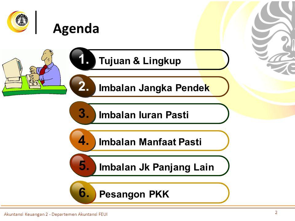 Agenda 2 Tujuan & Lingkup 1. Imbalan Jangka Pendek 2. Imbalan Iuran Pasti 3. Imbalan Manfaat Pasti 4. Imbalan Jk Panjang Lain 5. Pesangon PKK 6. Akunt