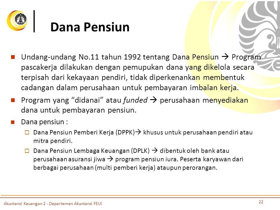 Dana Pensiun Undang-undang No.11 tahun 1992 tentang Dana Pensiun  Program pascakerja dilakukan dengan pemupukan dana yang dikelola secara terpisah dari kekayaan pendiri, tidak diperkenankan membentuk cadangan dalam perusahaan untuk pembayaran imbalan kerja.