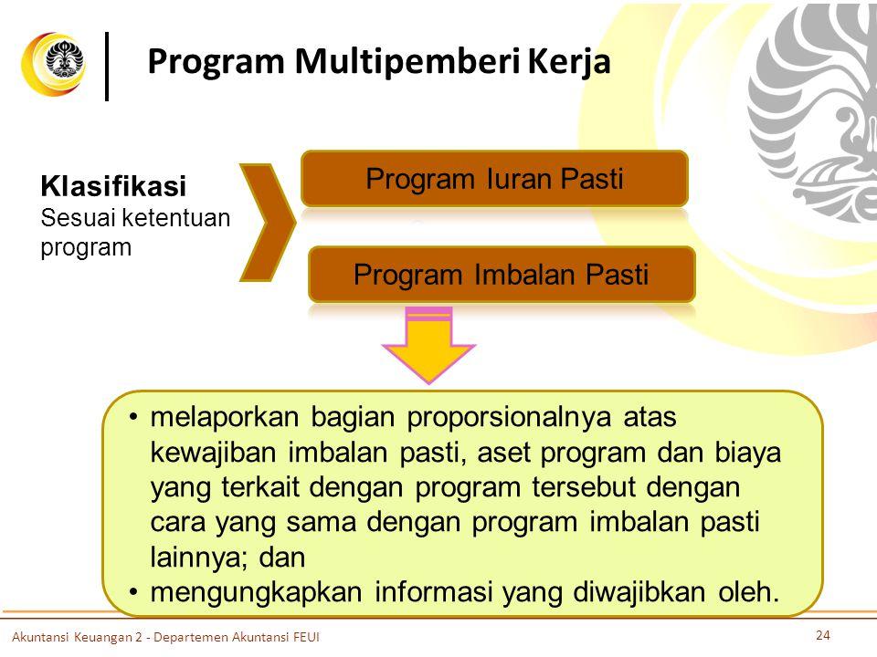 Program Multipemberi Kerja Klasifikasi Sesuai ketentuan program melaporkan bagian proporsionalnya atas kewajiban imbalan pasti, aset program dan biaya yang terkait dengan program tersebut dengan cara yang sama dengan program imbalan pasti lainnya; dan mengungkapkan informasi yang diwajibkan oleh.