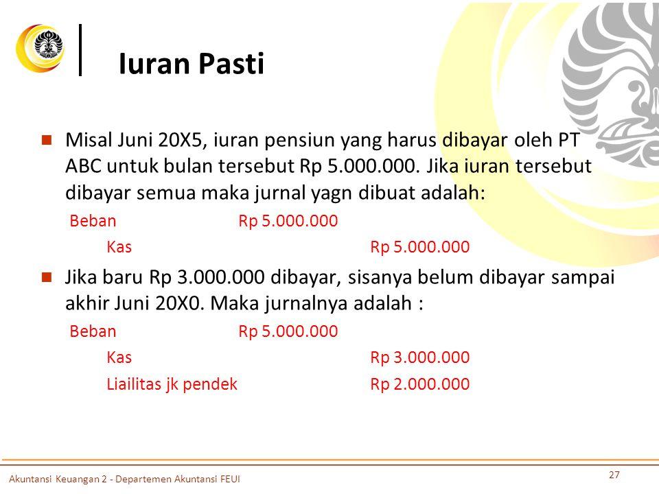Iuran Pasti Misal Juni 20X5, iuran pensiun yang harus dibayar oleh PT ABC untuk bulan tersebut Rp 5.000.000.