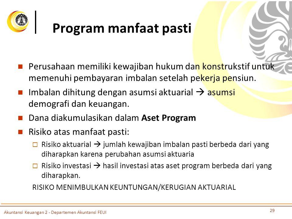Program manfaat pasti Perusahaan memiliki kewajiban hukum dan konstrukstif untuk memenuhi pembayaran imbalan setelah pekerja pensiun. Imbalan dihitung