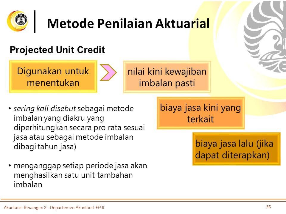 Metode Penilaian Aktuarial Projected Unit Credit Digunakan untuk menentukan nilai kini kewajiban imbalan pasti biaya jasa kini yang terkait biaya jasa lalu (jika dapat diterapkan) sering kali disebut sebagai metode imbalan yang diakru yang diperhitungkan secara pro rata sesuai jasa atau sebagai metode imbalan dibagi tahun jasa) menganggap setiap periode jasa akan menghasilkan satu unit tambahan imbalan Akuntansi Keuangan 2 - Departemen Akuntansi FEUI 36