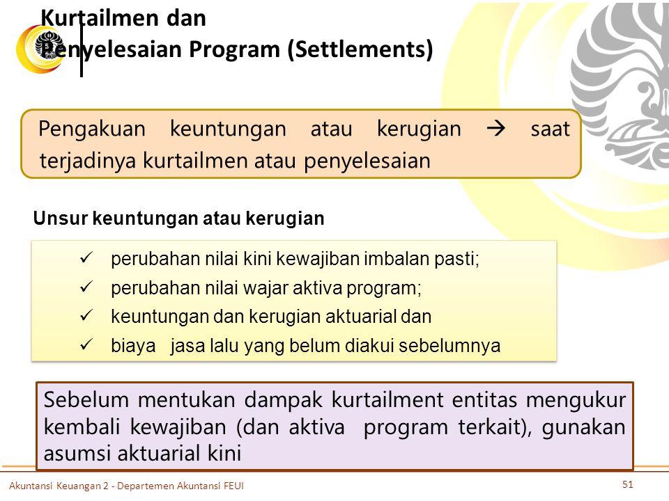 Kurtailmen dan Penyelesaian Program (Settlements) Pengakuan keuntungan atau kerugian  saat terjadinya kurtailmen atau penyelesaian Unsur keuntungan a