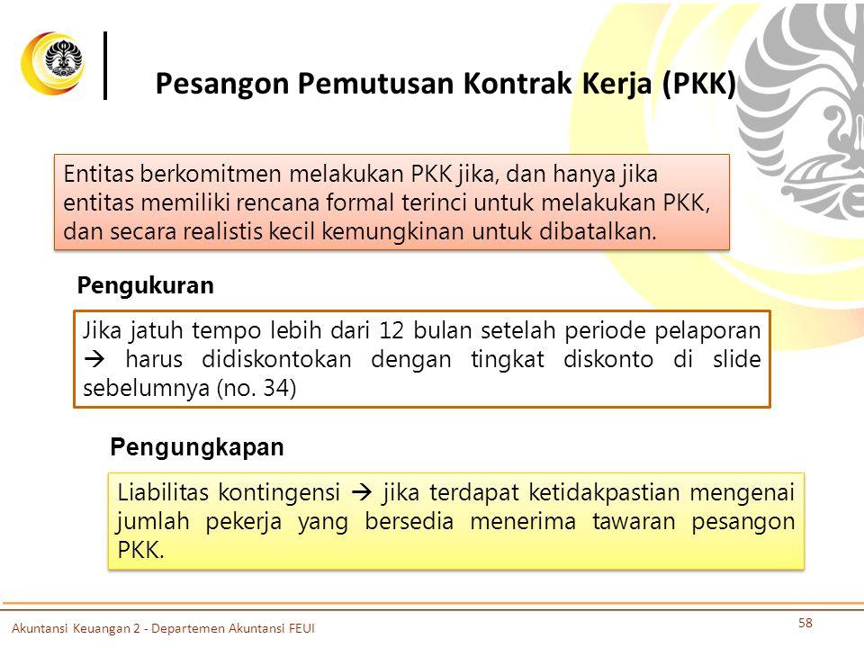 Pesangon Pemutusan Kontrak Kerja (PKK) 58 Entitas berkomitmen melakukan PKK jika, dan hanya jika entitas memiliki rencana formal terinci untuk melakukan PKK, dan secara realistis kecil kemungkinan untuk dibatalkan.