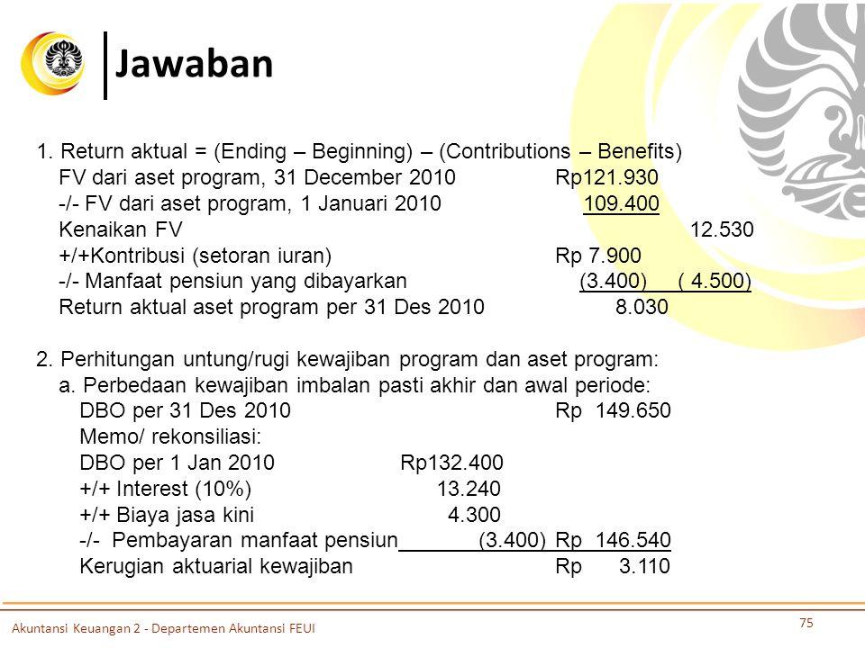 Jawaban 75 1. Return aktual = (Ending – Beginning) – (Contributions – Benefits) FV dari aset program, 31 December 2010 Rp121.930 -/- FV dari aset prog