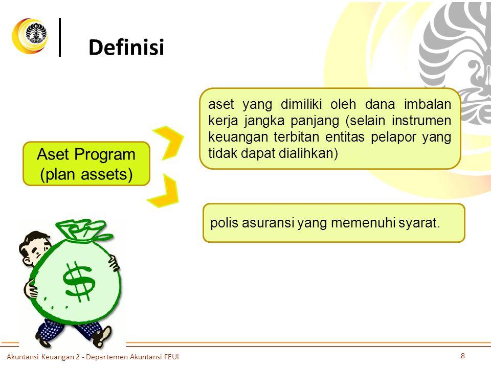 Definisi Aset Program (plan assets) aset yang dimiliki oleh dana imbalan kerja jangka panjang (selain instrumen keuangan terbitan entitas pelapor yang tidak dapat dialihkan) polis asuransi yang memenuhi syarat.