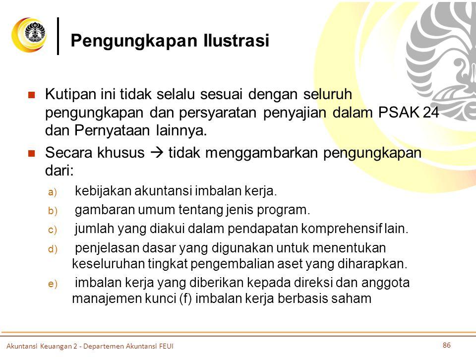 Pengungkapan Ilustrasi Kutipan ini tidak selalu sesuai dengan seluruh pengungkapan dan persyaratan penyajian dalam PSAK 24 dan Pernyataan lainnya.